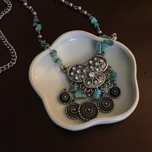 Jewelry - Silver Fashion necklace Turquoise faux diamond
